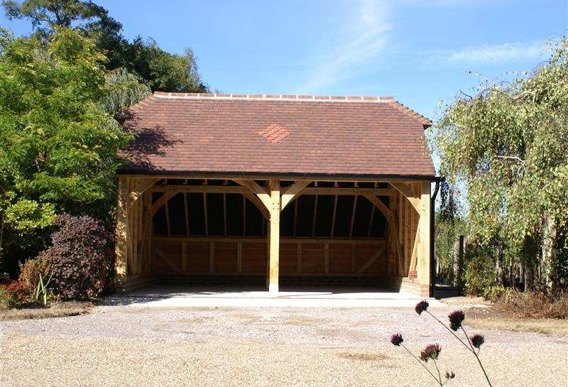 2 Bay Garage with Barn Hip Roof Front View