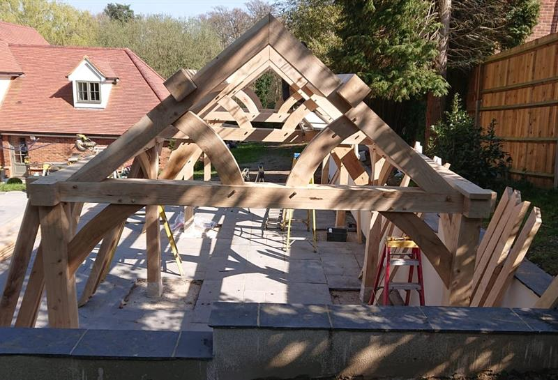 frame assembly progress shot 2 with all 4 feature trusses up